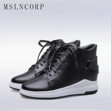 Plus Size 34-43 Women Boots Wedges Hide Heels casual Soft Flat Ankle Martin Shoes mujer Fashion Lace-Up Sport