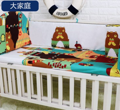 Promotion! 5PCS crib cotton crib bumper baby cot sets baby bed protector child bedding set ,include:(bumpers+sheet)