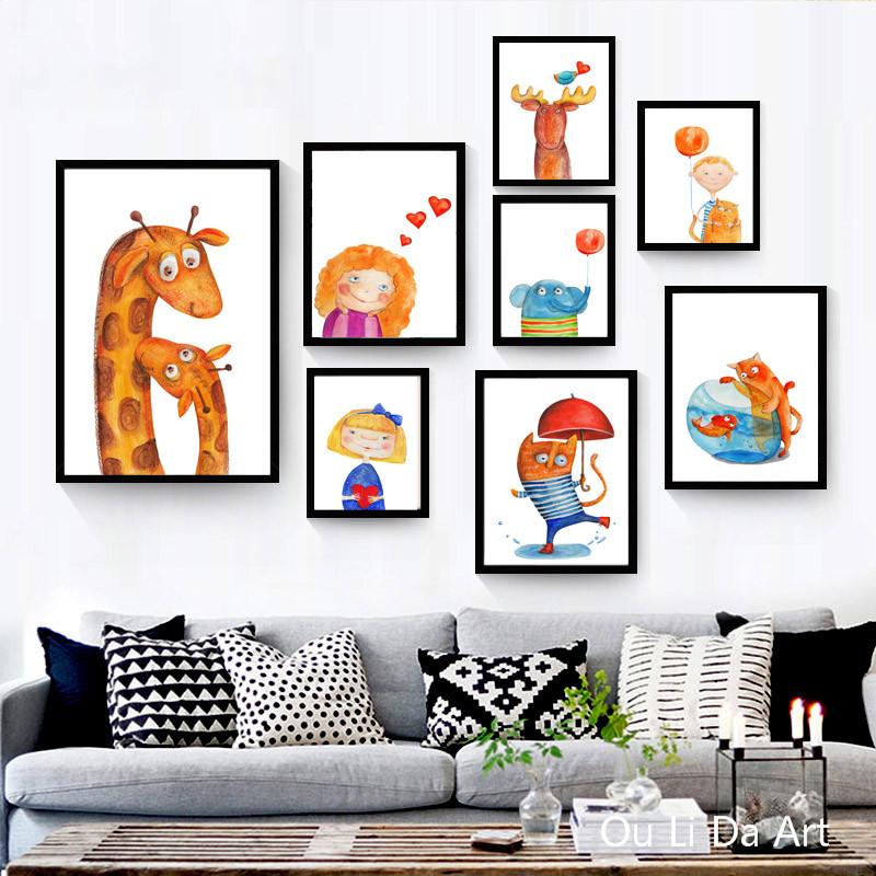 moderno lindo gato de dibujos animados nia elefante impresin de la lona pintura al leo impresa