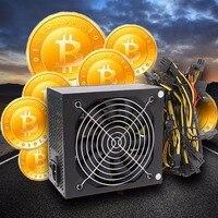 1600W ATX Power Supply 14cm Fan Set For Eth Rig Ethereum Coin Miner EU US Plug
