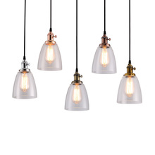 купить American Copper Chandelier Cafe Bar Creative Retro industrial Wind Glass Home Living Room E27 Lighting Decoration дешево