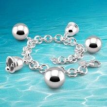 Nueva llegada! a estrenar de la joyería 925 de plata pura campana pulsera de las muchachas, mujer Encantadora accesorios de moda