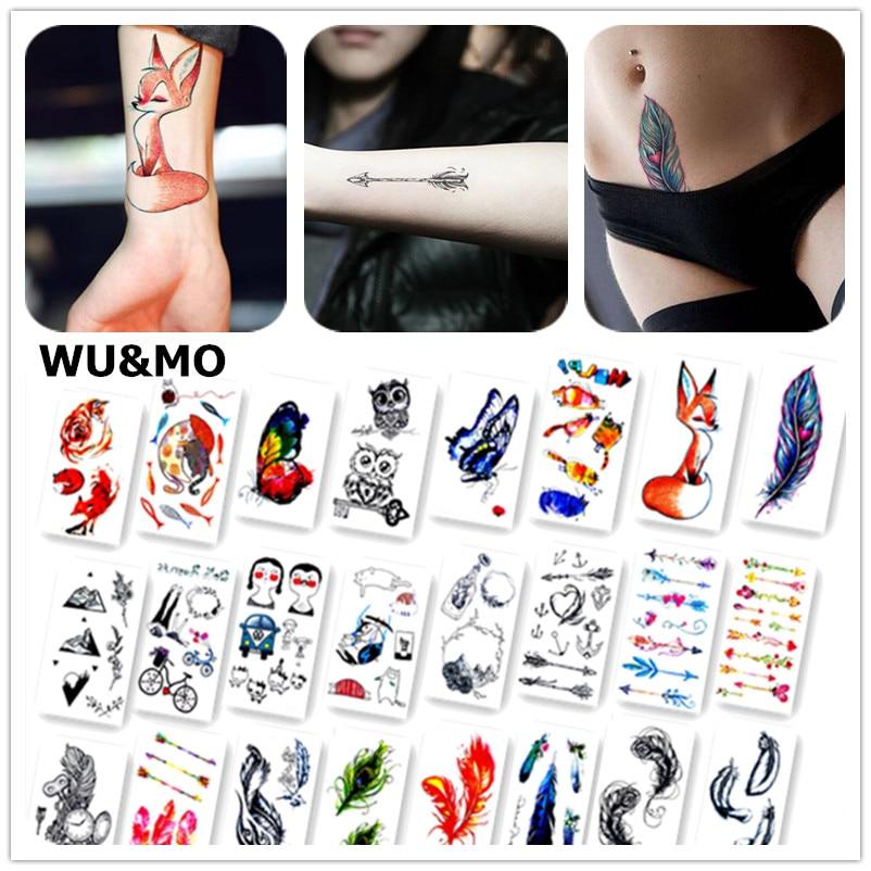 Красочные бабочки лиса Перо Средства ухода за кожей Книги по искусству Сексуальная Harajuku Водонепроницаемый Временные татуировки для парня девушку хна поддельные флеш-тату Наклейки