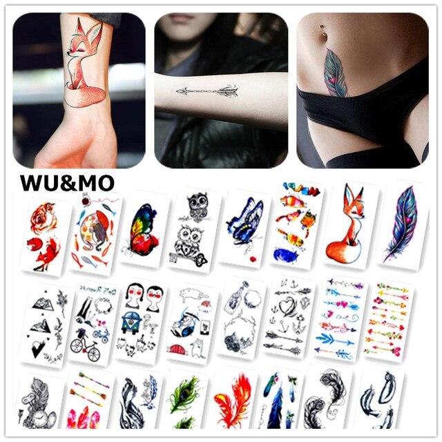 Красочные бабочки лиса Перья Для тела Книги по искусству Сексуальная Harajuku Водонепроницаемый Временные татуировки для парня девушку хна поддельные флеш-тату Наклейки