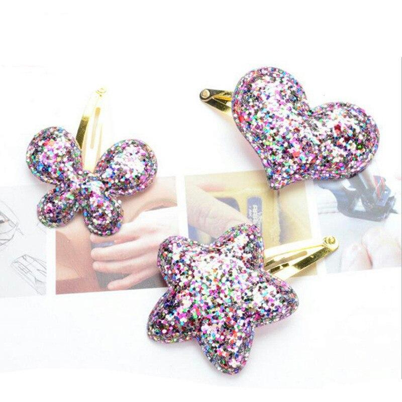 LNRRABC 1PC Fashion Hot Sale Girls PU Barrettes Butterfly Hearts Stars Small Sequins BB Hair Clip Hair Accessories