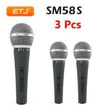 3 шт. SM58S вокальный микрофон с выключателем SM58s Чистый Звук Караоке динамический металлический корпус микрофон ручной микрофон