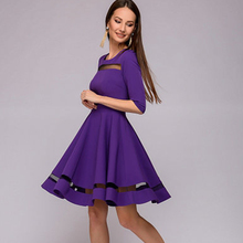 New Hollow Out Half Sleeves O-neck Party Mini Dresses Vestidos