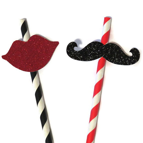 500pcs Mustache and Lips Paper Straws Wedding Decorations ...