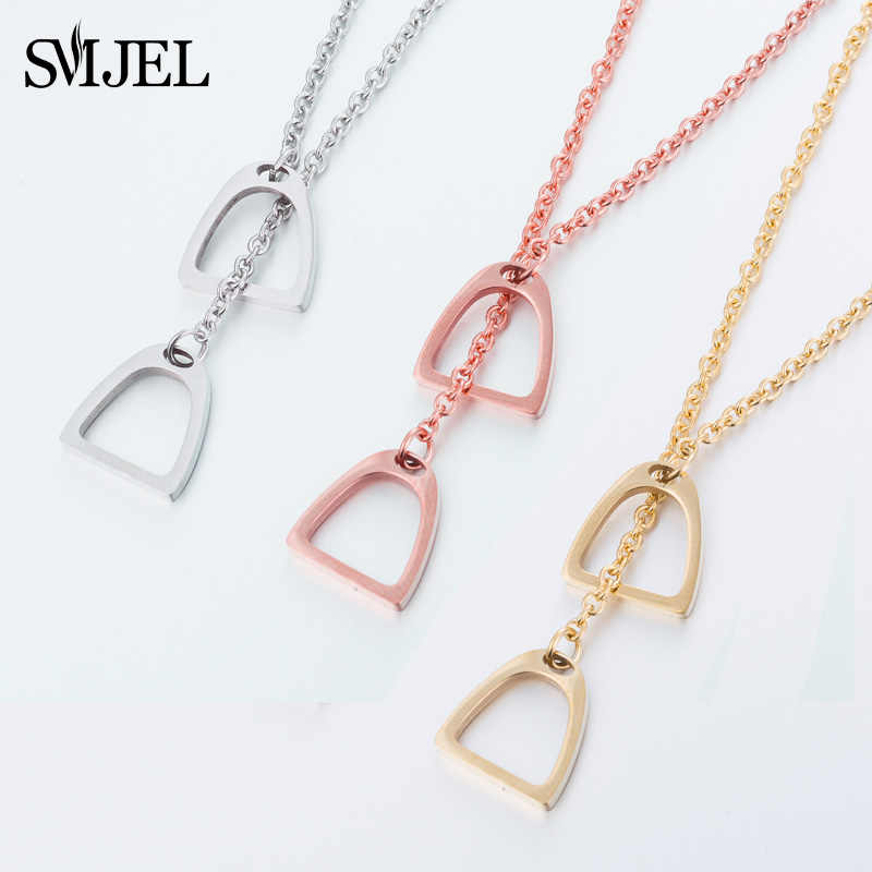 SMJEL Fashion Castle Mickey Necklaces for Women Lucky Unicorn Jewelry Lovely Horse Shoe Necklace Chain Gift Bijoux
