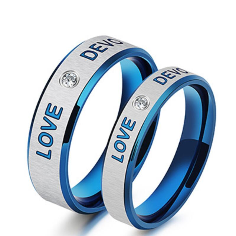 High Quality Stainless Steel Unique Blue Rings For Men&Women Fashion Couple Lover Rings Wholesale