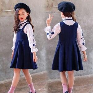 Image 4 - בנות בגדי סט רקמת חולצה + שמלת 2 Pcs חליפת סתיו עבור בנות מקרית ילדים של סט חורף Teen בנות בגדי 4 6 8 12