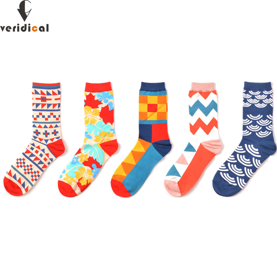 5 pair/lot men Colour crew cotton happy socks European fashion style Mens Casual socks harajuku designer man Fun trendy socks