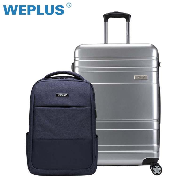 20 INCH luggage set backpack PC Vintage Rolling Hardside Luggage Travel Suitcase Lightweight silver TSA Lock carry-on for men 20 24 26 29 vintage suitcase pc abs luggage rolling spinner lightweight suitcase with tsa lock