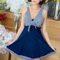 Blue Bodysuits One Piece Swimsuit Dress Bathing suit 2018 Summer Women Print striped Monokini Beach Dress Bodysuit Swimwear