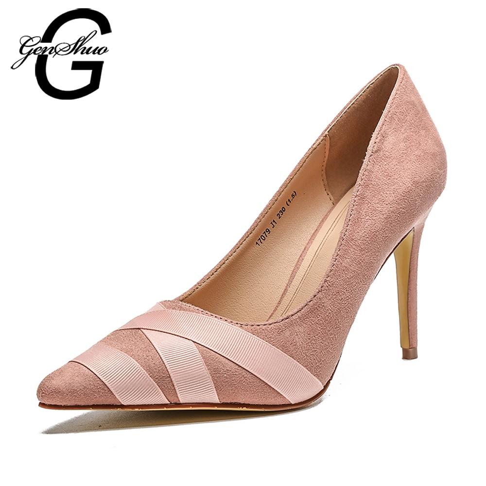 genshuo alti talloni delle donne scarpe a spillo tacchi alti