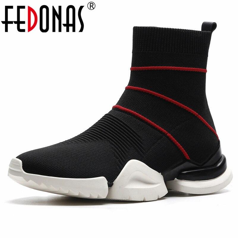 871e44f769dc85 Pour Mode Femme Court Sneakers Chaussures Hiver Cheville Automne formes  Chaussettes blanc Femmes Plates 2019 Sport Fedonas Bottes ...