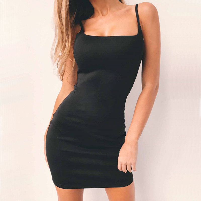 2018 Summer <font><b>Dress</b></font> Womens <font><b>Sexy</b></font> <font><b>Black</b></font> Strappy Slip <font><b>Dress</b></font> Party Sheath Clubwear Short Mini Bodycon <font><b>Dress</b></font> image