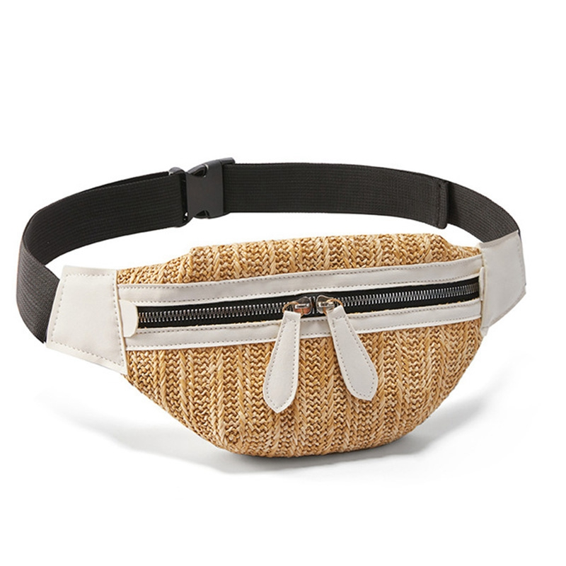 Waist Bag For Women Travel Waist Fanny Pack Holiday Money Belt Wallet Straw Mini Pouch Fashion Summer Chest Bag