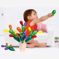 Colorful Wooden Blocks 28pc Set Wood Cactus Blocks Infant Toys Wooden Blocks Toys For Children