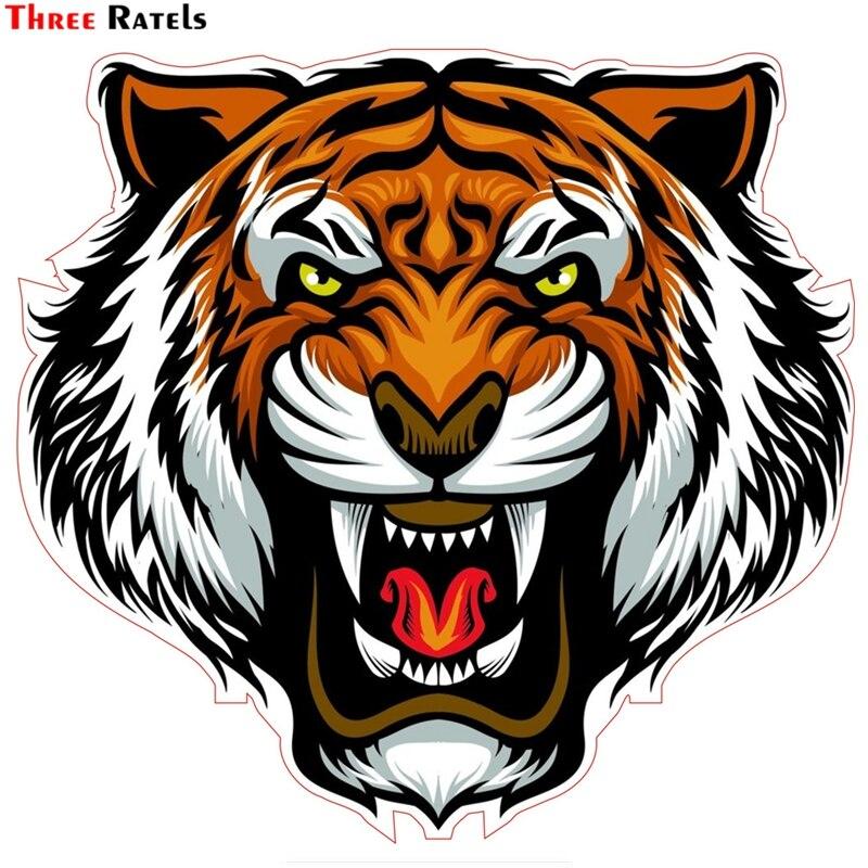 Three Ratels TZ-1536#15x15.9cm Evil Tiger Colorful Car Stickers Funny Auto Sticker Decals