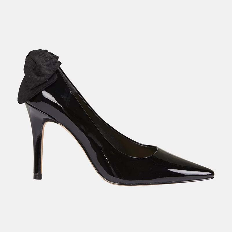 Chaussures sur Noir noeud Mince Solide Talon Marque Pompes Pointu Verni Papillon Ty01 De Super Femme Base Haute Slip 2019 Lady Cuir Doux En Bout 5ARL34j