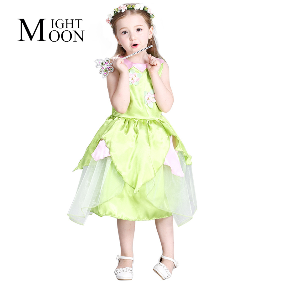 MOONIGHT Tinkerbell Princess Woodland Fairy Dress Cosplay Girls Green Fairy Dress for 3-10 Years Kids (Without Wing)