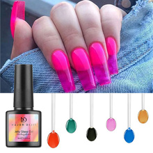 1bottle Jelly Glass Candy Gel Nail Polish Translucent Neon Color Summer Attribute Soak Off UV Varnish Mirror