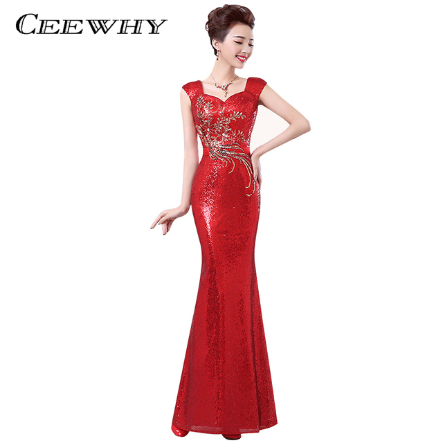 CEEWHY Vestido de Festa Elegant Summer Sequin Evening Dress Long Trumpet    Mermaid Formal Dress Slim Embroidery Prom Dresses 638ace6df958
