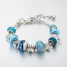 Annapaer mar estrelas azul murano contas de vidro pulseira encantos caber pulseira original & bracelete para presentes femininos moda jóias b15143