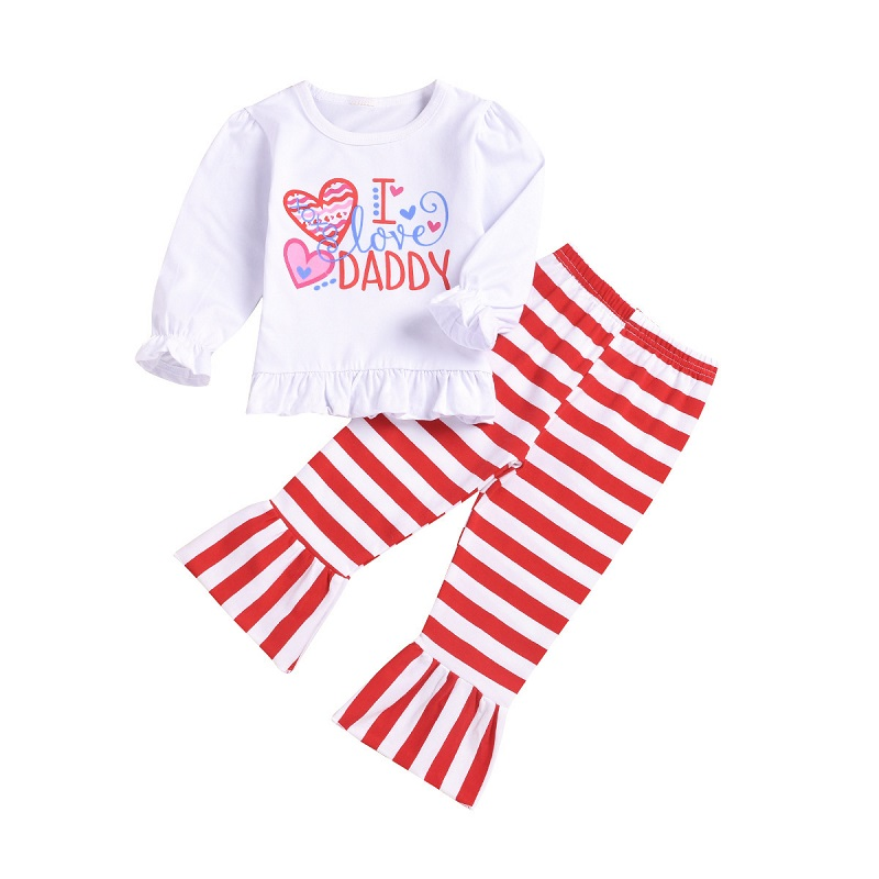 2019 Festival Baby Girl Clothes Sets Letter Printed Stripe Outfits for Spring Blouse Pants Cotton Bebies Kids Clothing Set 2PCS2019 Festival Baby Girl Clothes Sets Letter Printed Stripe Outfits for Spring Blouse Pants Cotton Bebies Kids Clothing Set 2PCS