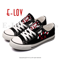 Graffiti Funny Cartoon Doll Canvas Shoes Street Style Printed Cute Monster Casual Lace Up Walking Shoes