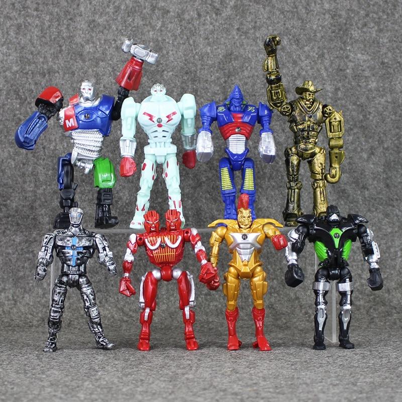 8pcs/lot Action Figure Real Steel Toys Atom Movie Zeus Twin Cities Midas Robot PVC 13cm gift doll Model Anime Non-JAKKS robot jakks pacific movie grab ems 3 figure smurfette toys gift new