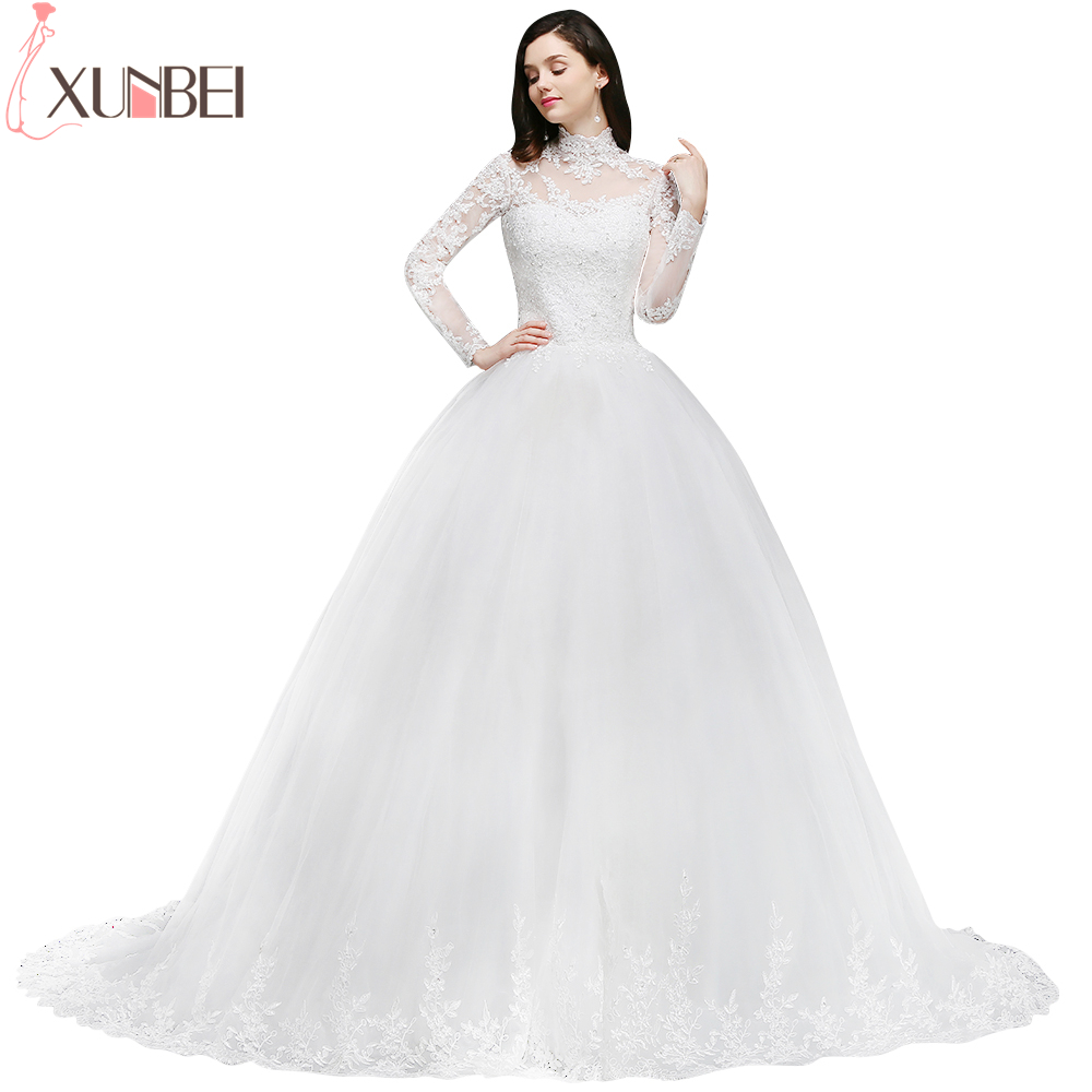 Elegant High Neck Long Sleeves Ball Gown Wedding Dresses