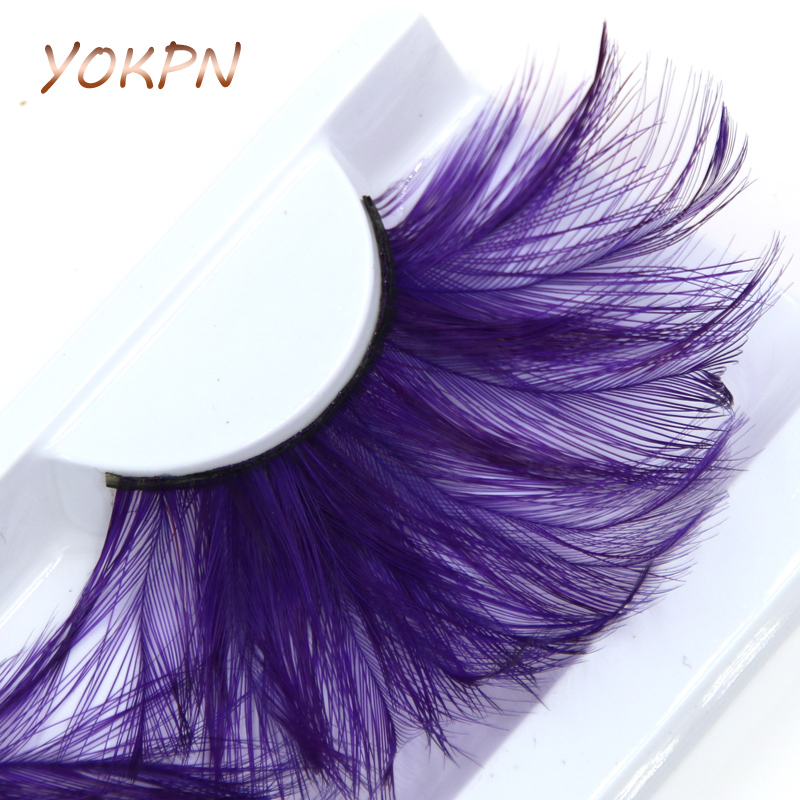 YOKPN Exaggerated Color Eye Lashes Crisscross Messy Cotton Thread Thick Feathers False Eyelashes Art Stage Makeup Fake Eyelashes