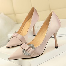 Women Fashion Satin Crystal Buckle Shallow Party Pumps Shoes Spring Pointed Toe Slip-On 9CM Thin High Heels Office Ladies Shoes