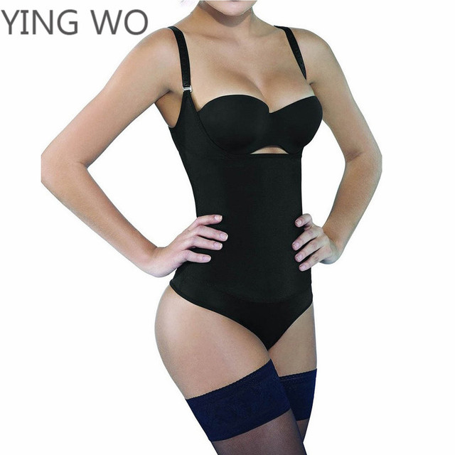 6ea44d133 Body senos libres fajas plus size women shapewear firm compression braless  body shaper in thong black slimming vest corset