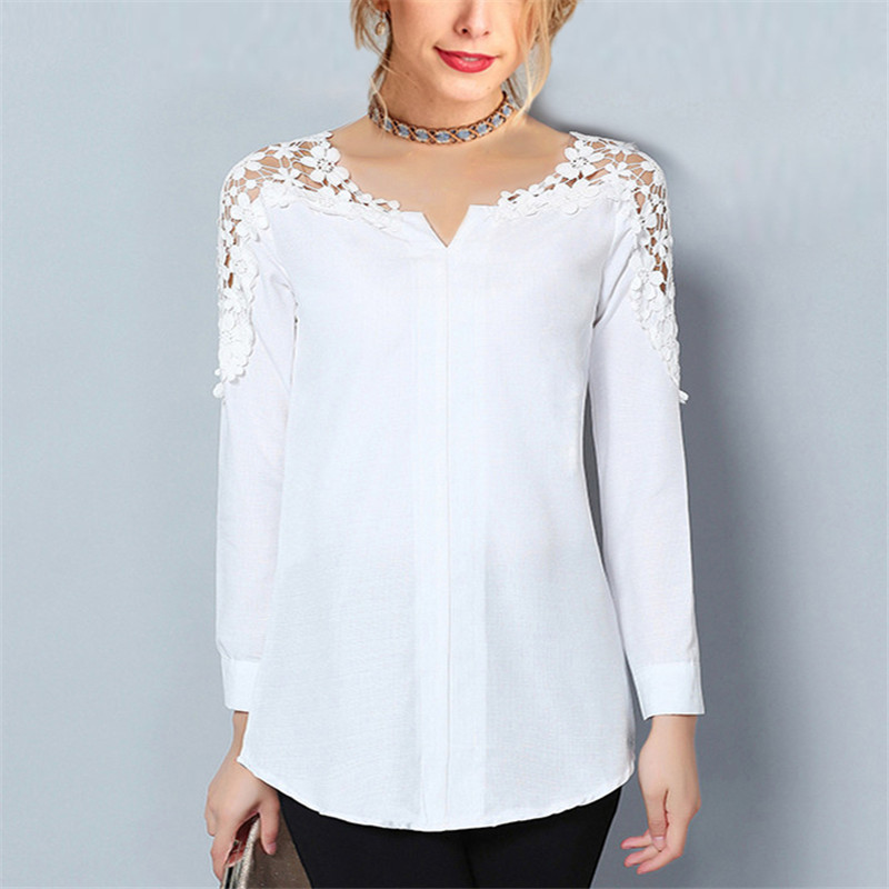 Chiffon Blouse New Women V-Neck Tunic Lace Blouse Casual 2019 Sleeve White Shirt Loose Top Summer Elegant Office Ladies Blouses
