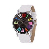Women S Quartz Watches Stainless Steel Leather Wristwatch High Quality Colorful Dial White Black Red DodgerBlue