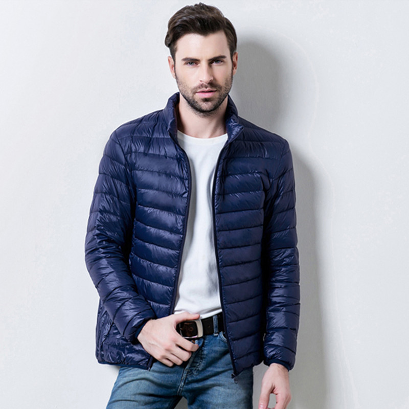 New Men's   down   jacket winter mens Thin and light White duck   down     coat   slim Stand collar male Solid color warm outwear Tops 6XL