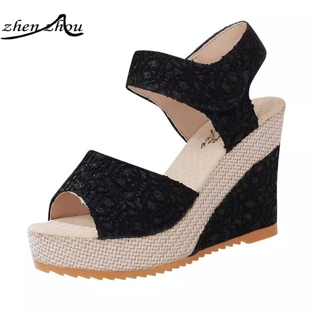 23a30889b782 Women Sandals 2018 Summer New Open Toe Fish Head Fashion platform High Heels  Wedge Sandals female shoes