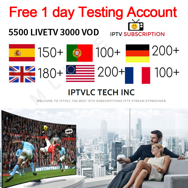 IPTV Subscription5500 Channels HD Arabic Europe USA Germany Canada Italy Russia Africa France India Latin America Smart IPTV M3U