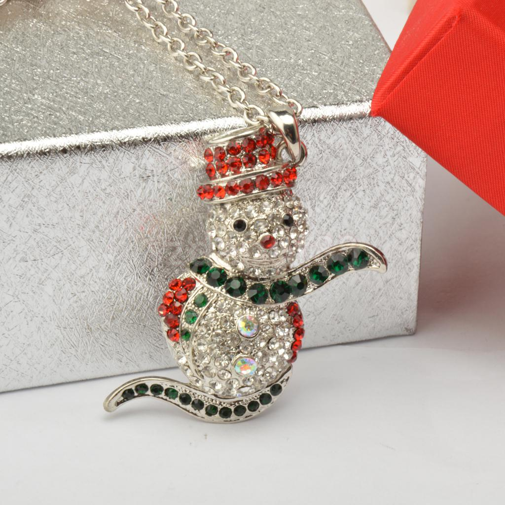Fashion Women Men Crystal Christmas Snowman Long Pendant Sweater Chain Necklace Xmas Holiday Gifts