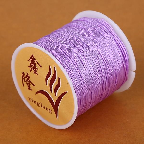 50 метров 0,8 мм нейлоновый шнур, китайский Узелок, шнур макраме, браслет, плетеный шнур, бисероплетение, сделай сам, ювелирный шнур, нить - Цвет: Light Purple