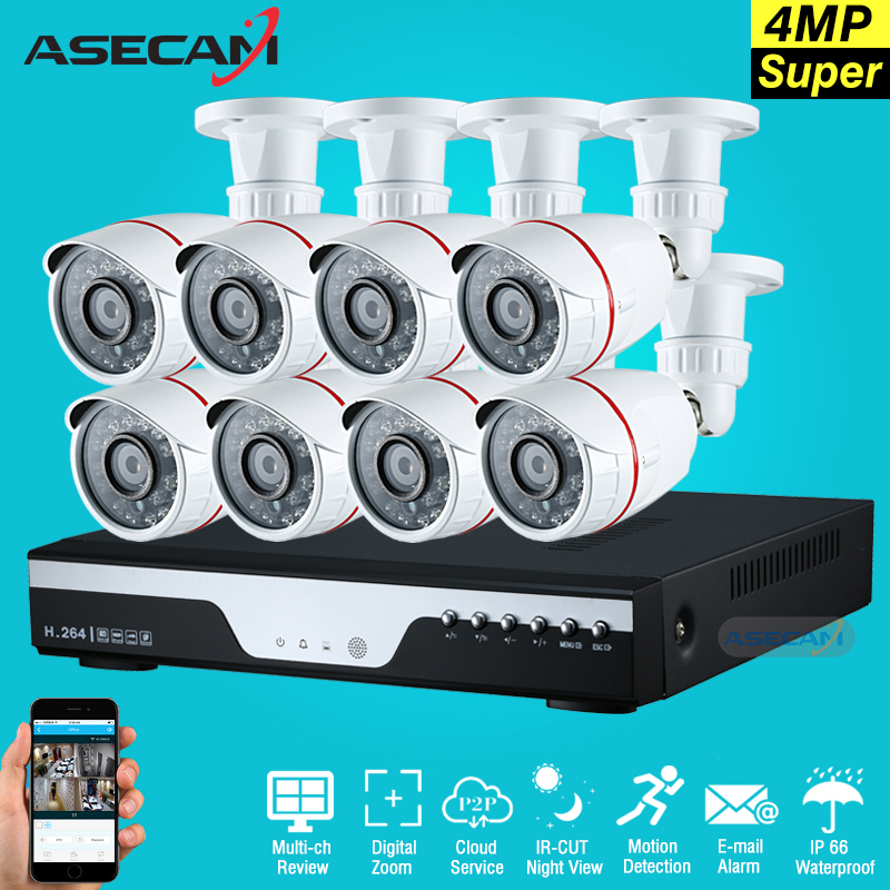 New 8ch Super 4mp full hd Surveillance CCTV DVR H.264 Video Recorder AHD Outdoor small Metal Bullet Security Camera System Kit цена