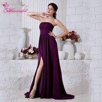 Alexzendra Simple Purple Chiffon A Line Prom Dresses Side Slit Strapless Party Dress Evening Dresses Plus