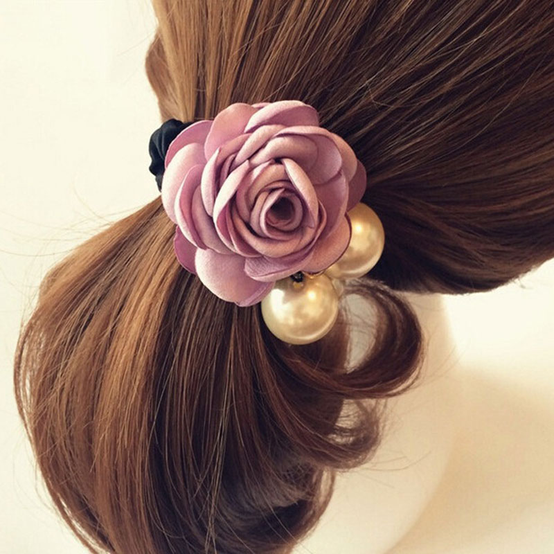 1Pcs Women Hair Accessories Flower Hair Rope Fashion Pearl Hair Elastic Rubber Band Headband For Women Girls Scrunchy Ornament noble faux pearl flower elastic hair band for women