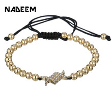 2019 Adjustable Claw Men Bracelet New Fashion Luxury CZ Charm Copper Beads Braiding  Women Jewelry