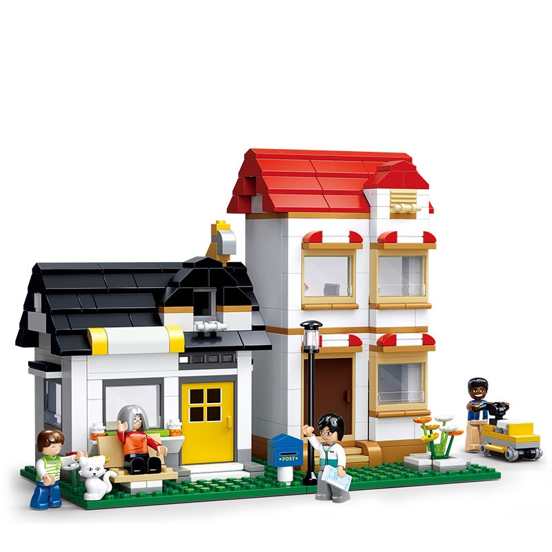 Sluban City Series Apartment Villas Model Building Blocks Sets Bricks Model Classic Kid Toys For Children Compatible Legoe Gift lepin 1767 city town city square building blocks sets brick kid model kids toys for children marvel compatible bela diy gift toy