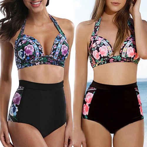 540551208 2018 Womens 2 piezas Floral alta cintura vendaje traje de baño acolchado  Bra Tanga Bikini Push