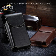KISSCASE Universal Belt Case For iPhone X Genuine Leather Belt Phone Bag For Samsung S6 S7 Edge For Xiaomi 8 8 Se Capinhas(China)